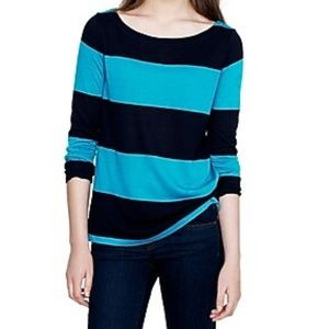 J. Crew Luxe Linen Rugby Striped Boatneck Top Blue